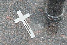 Edelstahl Kreuz Grabkreuz als Grabschmuck Grabgesteck Grabdekoration (Linien-Design) - Thorwa (20cm, Silber ohne Erdspieß)