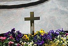 Edelstahl Kreuz Grabkreuz als Grabschmuck Grabgesteck Grabdekoration (Linien-Design) - Thorwa® (40cm, Silber mit Erdspieß)