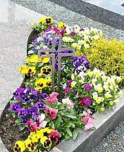 Edelstahl Kreuz Grabkreuz als Grabschmuck Grabgesteck Grabdekoration (Offset) - Thorwa® (40cm, Silber mit Erdspieß)