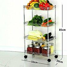 Edelstahl Küche Regal Vier Schichten Landung ES Gemüse bewegen können Regal Töpfe Storage Rack, #4