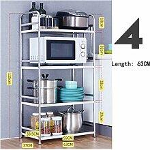 Edelstahl-Küchenregale, Mikrowelle, Ofen,