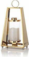 Edelstahl Laterne in Gold mit LED Echtwachskerze