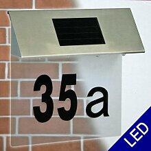 Edelstahl LED Solar Hausnummern Leuchte