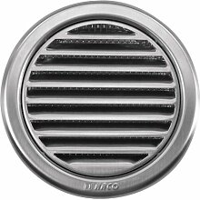 Edelstahl Lüftungsgitter - Abluftgitter - rund - mit Flansch/Rohranschluß und Insektenschutz: Deckmaß: 133 mm (NVM-110)