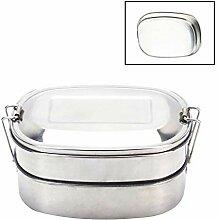 Edelstahl Lunchbox Brotdose Mit Fächern 2 Ebenen
