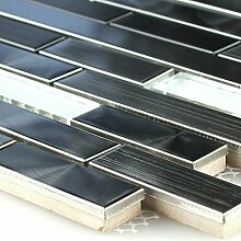 Edelstahl Metall Glas Design Mosaik Fliesen Grau