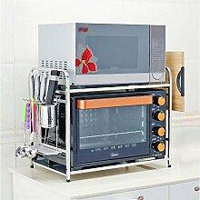 Edelstahl-Mikrowellen-Rack / 2-stöckige Küche Backofen / 3 Etage Boden doppelte Regal ( größe : 55cm , stil : C )