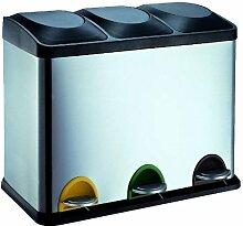 Edelstahl Mülleimer Küche Mülltrennung 45 Liter