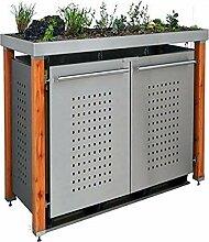 Edelstahl Mülltonnenbox für 2 Tonnen 120L mit
