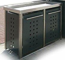 Edelstahl Mülltonnenbox mit Pflanzenwanne für 2
