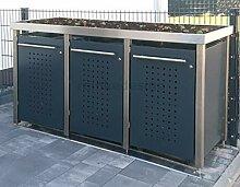 Edelstahl Mülltonnenbox mit Pflanzenwanne für 3