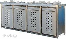 Edelstahl Mülltonnenbox mit Pflanzenwanne für 4