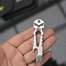 Edelstahl multifunktional EN PLEIN AIR EDC Überleben Werkzeug-Taschenlampe Schlüsselanhänger Kette Flaschenöffner gold