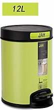 Edelstahl-Pedal-Mülleimer Mülleimer Mülleimer Dusche Badezimmer Wohnzimmer Küche 12L (24 * 42cm) ( Farbe : Grün )