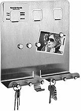Edelstahl Schlüsselbrett mit Magnettafel -