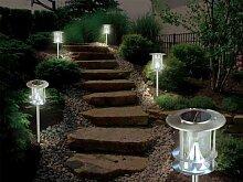 Edelstahl Solarleuchte Solarlampe Ø ca. 14,5cm mit 6 LEDs und Erdspiess Parklampe Parkleuchte Parkbeleuchtung Wegelampe Wegeleuchte Wegebeleuchtung Gartenlampe Gartenleuchte Gartenbeleuchtung