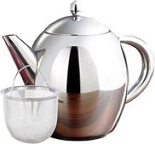 Edelstahl-Teekanne mit Siebeinsatz, 0,5 Liter,