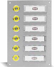 Edelstahl Türklingel für 6 Familien mit LED
