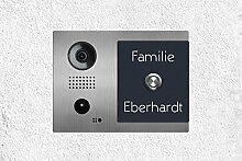 Edelstahl Videosprechanlage - Klingelschild mit DoorBird Video Türstation Video Türsprechanlage und Intercom individuell beschriftet (Variante A)