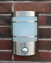 Edelstahl Wand-Außenleuchte Außenlampe Wandlampe Wandleuchte Hoflampe Hofleuchte Gartenlampe Gartenleuchte Eingangsbeleuchtung mit IF Infrarot Bewegungsmelder , Echtglas und LED Energiesparlampe 7 Wa
