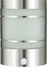 Edelstahl Wand-Aussenleuchte mit Bewegungsmelder IP44 E27 Gartenlampe Außenlampe Hoflampe