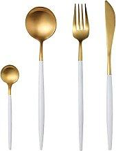 Edelstahl Weißgold Besteck Set Geschirr Set Gold