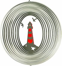 Edelstahl-Windspiel LEUCHTTURM 300 ROT