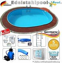 Edelstahlpool 5,85 x 3,50 x 1,25 Set Schwimmbecken