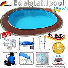 Edelstahlpool 7,37 x 3,60 x 1,25 Set Schwimmbecken