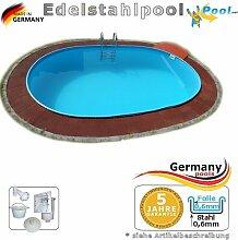 Edelstahlpool oval 530 x 320 x 125 cm Ovalbecken Pool