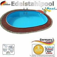 Edelstahlpool oval 7,00 x 3,50 x 1,25 m Ovalbecken Pool