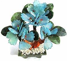 Edelsteinbäumchen mit Blättern aus Serpentin, blau