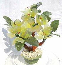 Edelsteinbäumchen mit Blättern aus Serpentin, gelb