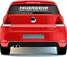 eDesign24 Feuerwehr Aufkleber Sticker Autoaufkleber - Retten Löschen Bergen Schützen 80 x 11 cm weiß weiß 80 x 11 cm
