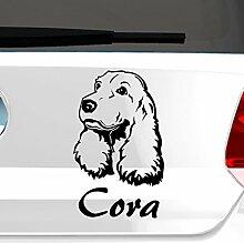 eDesign24 Hund Cocker Spaniel mit Wunschname Autoaufkleber Autosticker Aufkleber Sticker Erhältlich in mehr als 30 Farben 12 x 20 cm schwarz schwarz 12 x 20 cm