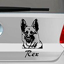 eDesign24 Hund Deutscher Schäferhund mit Wunschname Autoaufkleber Autosticker Aufkleber Sticker Erhältlich in mehr als 30 Farben 11 x 20 cm schwarz schwarz 11 x 20 cm