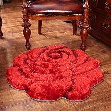 Edge to 3D Beschneiden Rosen Dicker Teppich Schlafzimmer Bettvorleger Computer Stuhl Teppich ( Farbe : A , größe : 120*120CM )