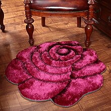 Edge to 3D Beschneiden Rosen Dicker Teppich Schlafzimmer Bettvorleger Computer Stuhl Teppich ( Farbe : H , größe : 80*160cm )