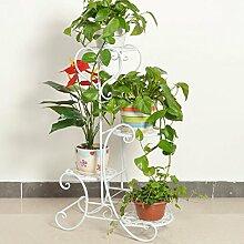 Edge to Blumenregale Iron Creative Multi - Storey Blumenständer Massivholz Blumen Regal Balkon Wohnzimmer Indoor Floor Flower Pot Rack ( Farbe : Weiß )
