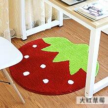 Edge to Erdbeer-Teppich Schlafzimmer Kissen Wohnzimmer Teppich Nachttisch Computer Stuhl Kissen Stuhl Anti-Rutsch-Fuß-Pad ( Farbe : A , größe : Diameter 100cm )