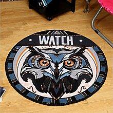 Edge to Runde Cartoon Wohnzimmer Blanket Couchtisch Study Printing Computer Stuhl Teppich ( Farbe : Diameter 80cm )