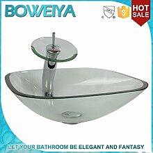Edina Quadratische Glaswaschbecken Kunst / Moderne Badezimmerwanne aus gehärtetem Glas Satz (T12mm * F420mm * H145mm)