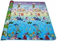 Edited Baby Wende-Spielteppich ungiftig Pad, 4 Typen Mustern Spielmatte, Anti-Rutsch und Wasserdicht, Kinder Spieldecke Crawl Mat mit PE-Baumwollfüllung, 180 x 200 CM (Typ 1 Tiere mit Automobil und Meer)