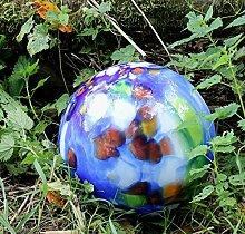 Edle Bodenkugel aus Glas mit Stab blau D 25 cm Handarbeit Gartenkugel