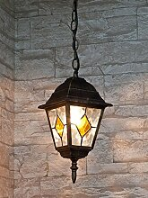 Edle Hängeleuchte Deckenlampe in antik -gold IP43