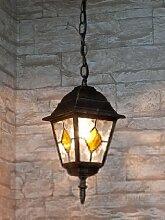 Edle Hängeleuchte Deckenlampe in antik-gold Tiffany-Glas Hoflampe Außenleuchte Gartenleuchte 8184 IP43