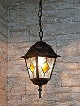 Edle Hängeleuchte Deckenlampe in antik-gold