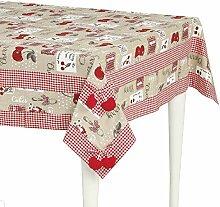 Edle Home Cherry Tischdecke, 100% Baumwolle,