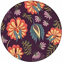 Edle lila florale Tapete mit großen Blüten auf