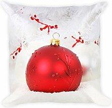 Edle rote Christbaumkugel auf Weiß Kissen 45x45